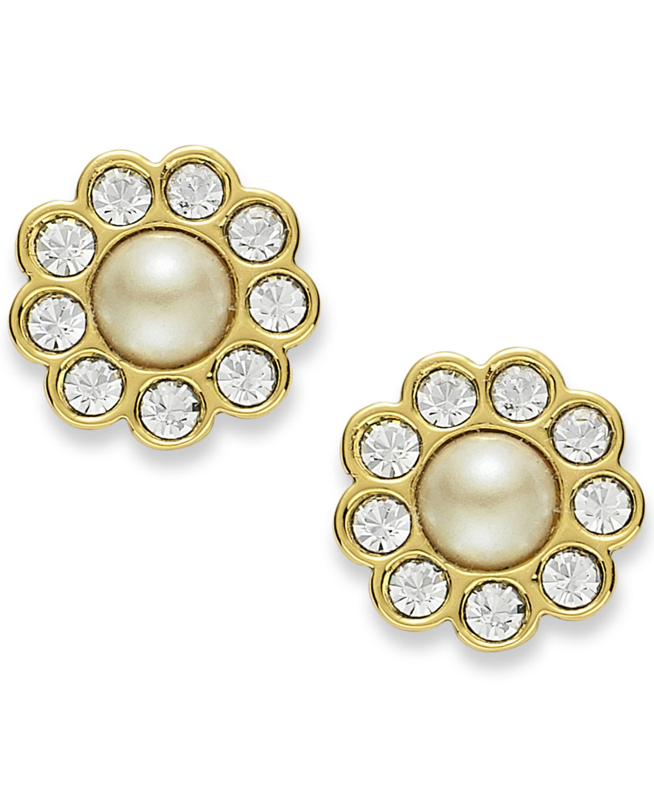 Lyst Kate Spade 12k Gold Plated Cream Glass Pearl Stud Earrings In
