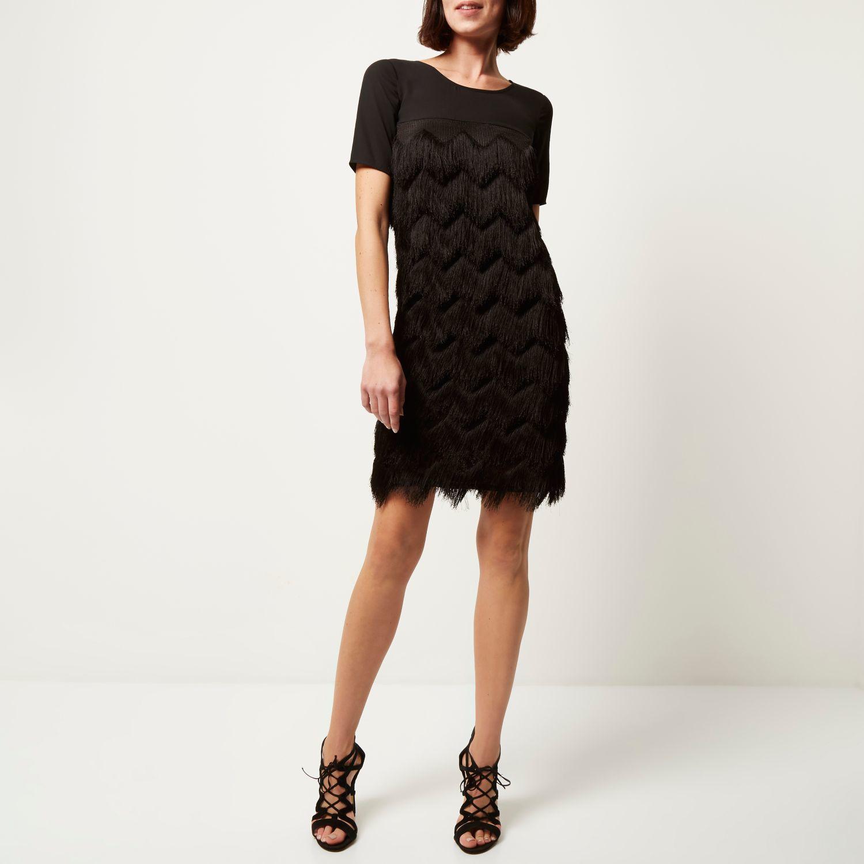 Black premium fringed t-shirt dress