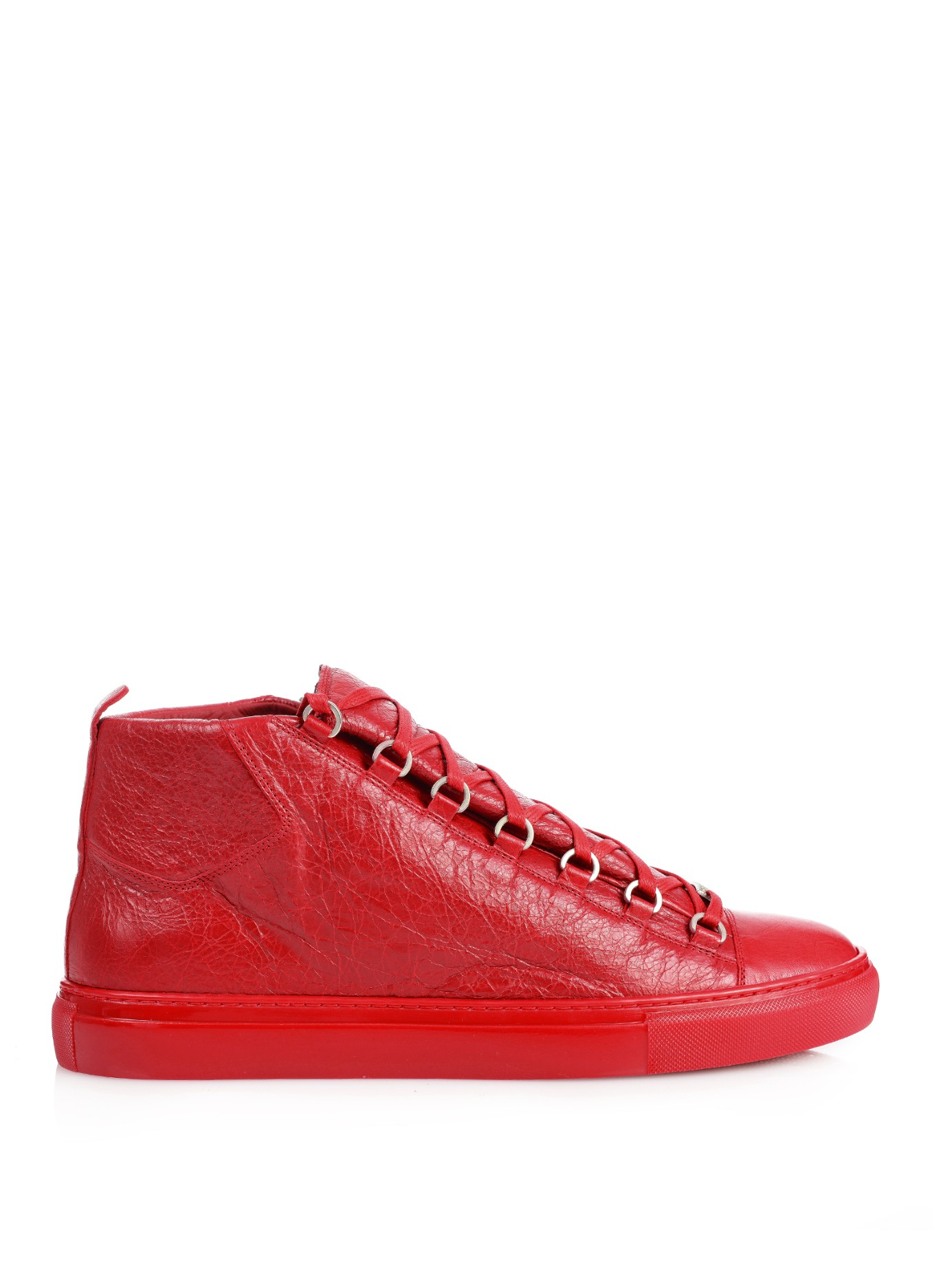 balenciaga arena hightop leather sneakers in red for men