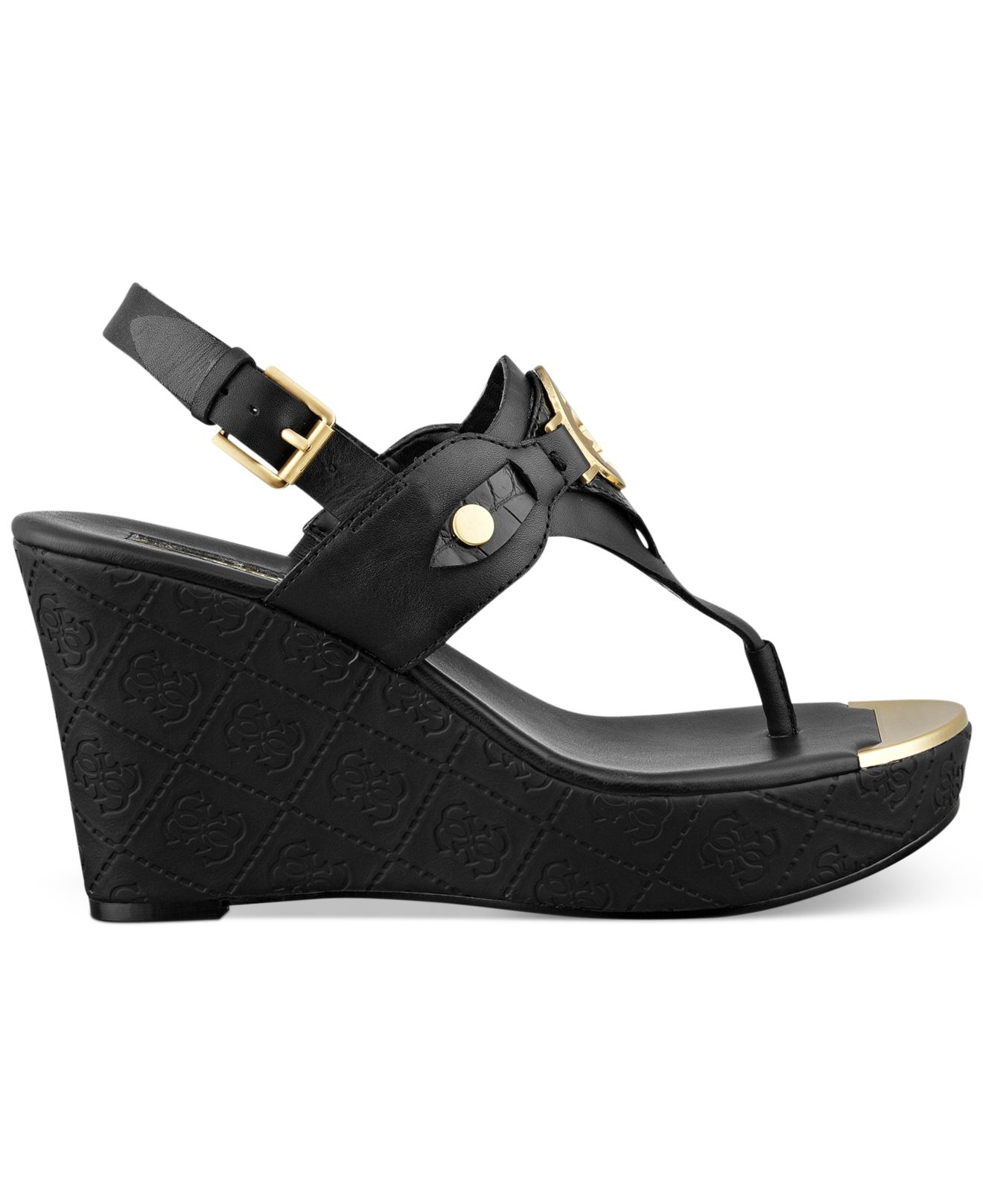 Guess Marcina Platform Wedge Thong Sandals in Black | Lyst