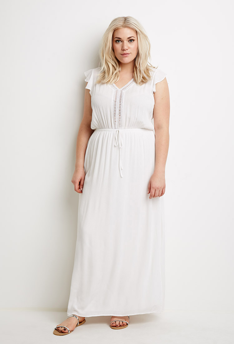 019bda7b49 Forever 21 Plus Size Lace-paneled Maxi Dress in White - Lyst