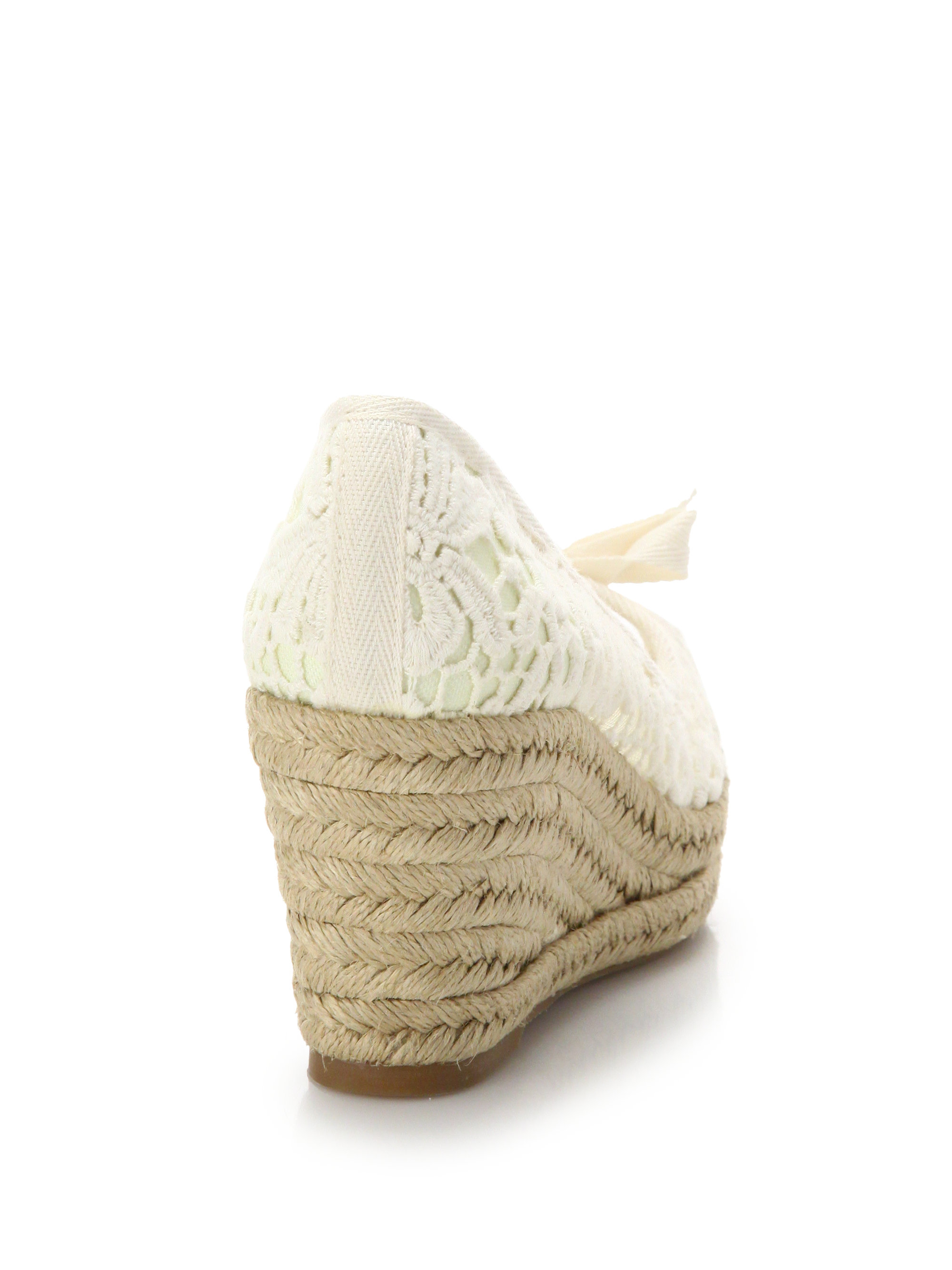 fc39b1a9a8f2 Lyst - Tory Burch Jackie Lace Peep-Toe Espadrille Wedge Pumps in White