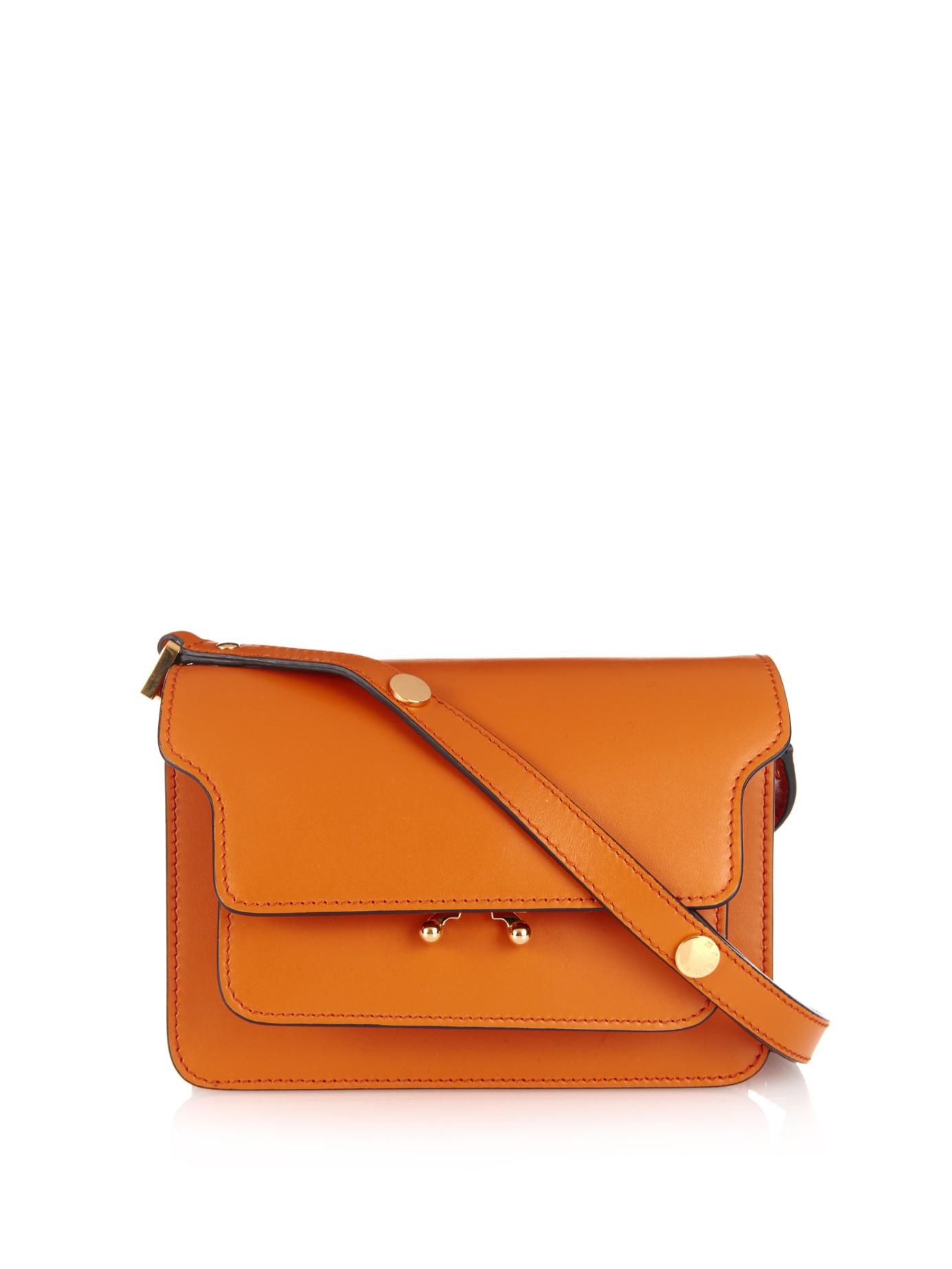 Marni Trunk Mini Leather Shoulder Bag in Orange | Lyst
