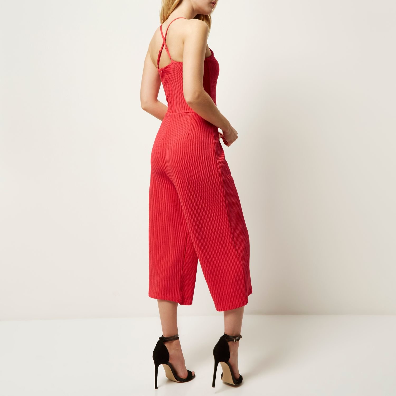 200be261728 Lyst - River Island Pink Textured Culotte Jumpsuit in Pink