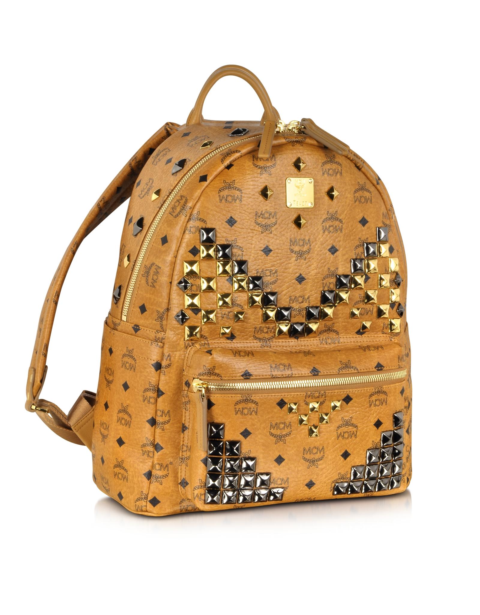 mcm medium stark leather backpack in brown for men lyst. Black Bedroom Furniture Sets. Home Design Ideas