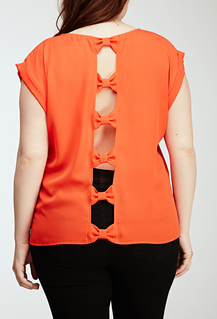 Lyst Forever 21 Plus Size Cutout Bow Blouse In Red
