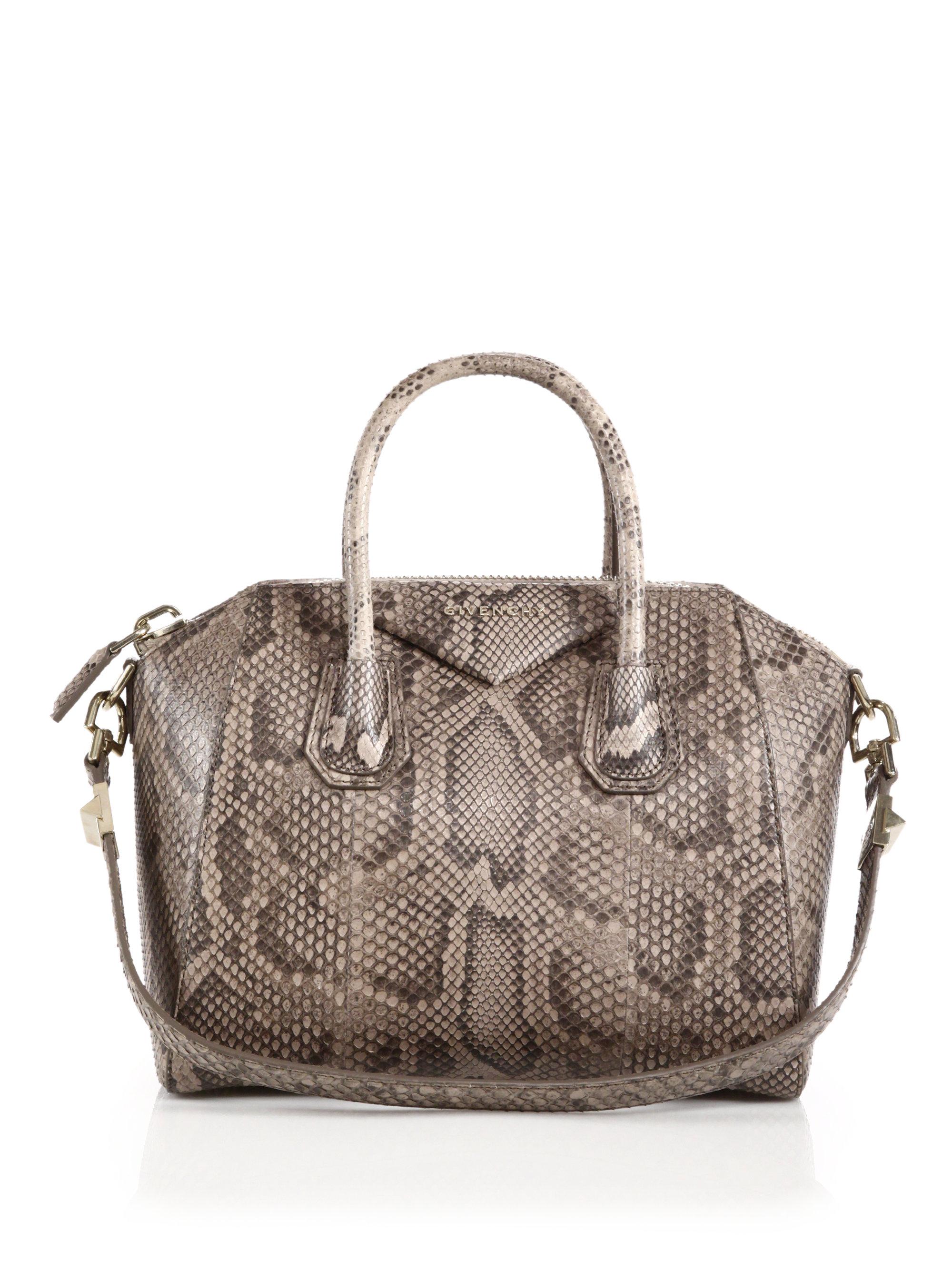 e84f0dda79a5 Lyst - Givenchy Antigona Small Python Satchel in Brown