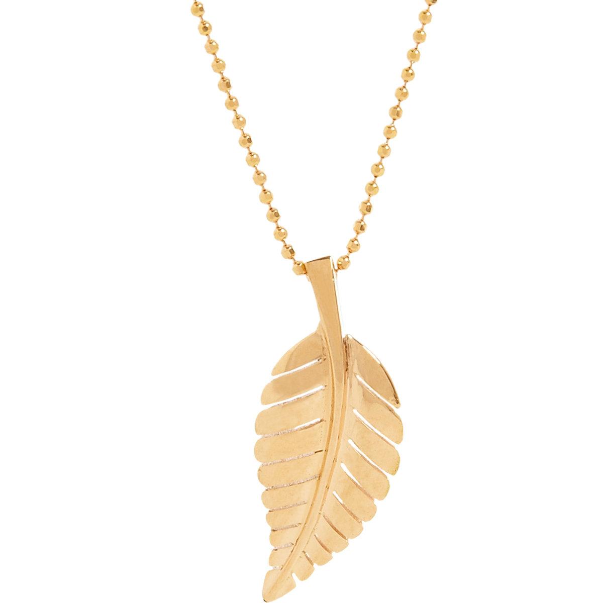 meyer leaf pendant necklace in pink lyst