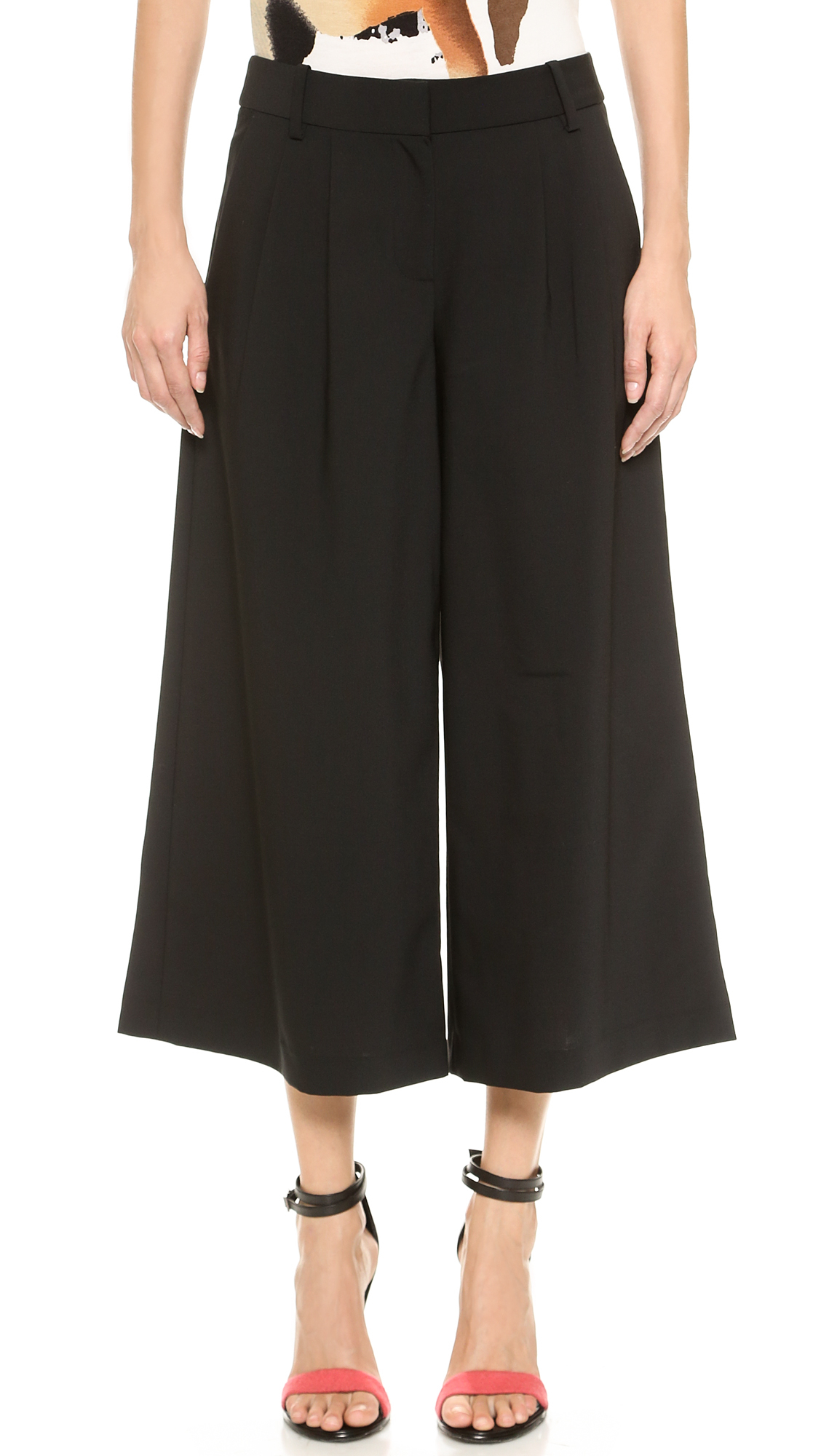 Tibi Pleated Wide Leg Pants in Black | Lyst