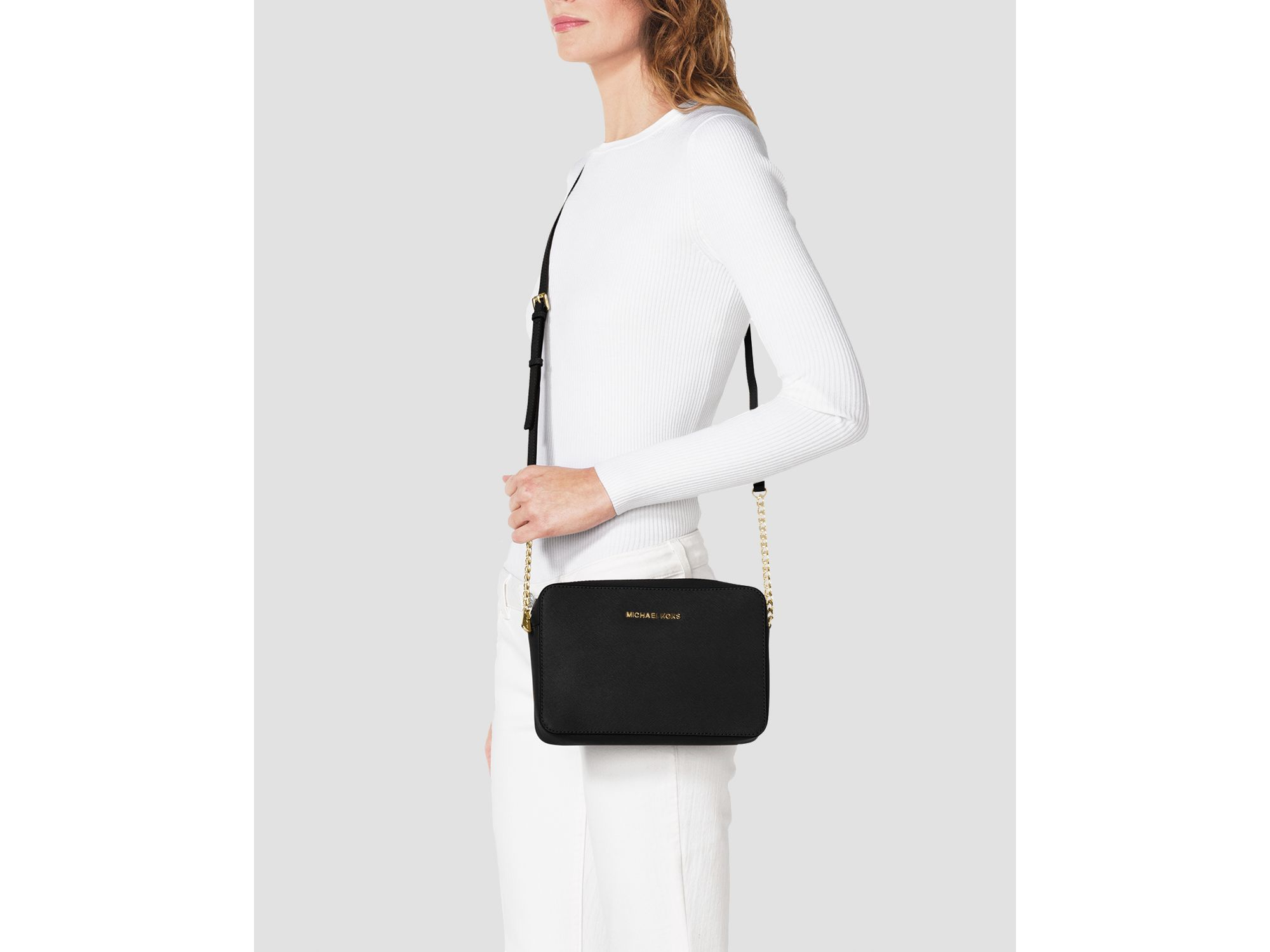Lyst Michael Michael Kors Crossbody Jet Set Large In Black