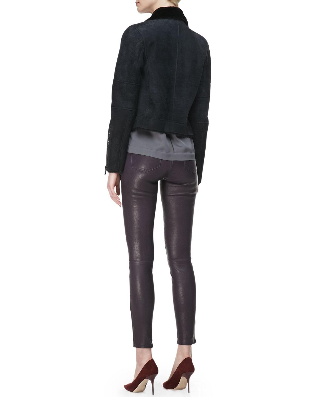 j brand j brand jeans l8001 leather leggings in gray lyst. Black Bedroom Furniture Sets. Home Design Ideas