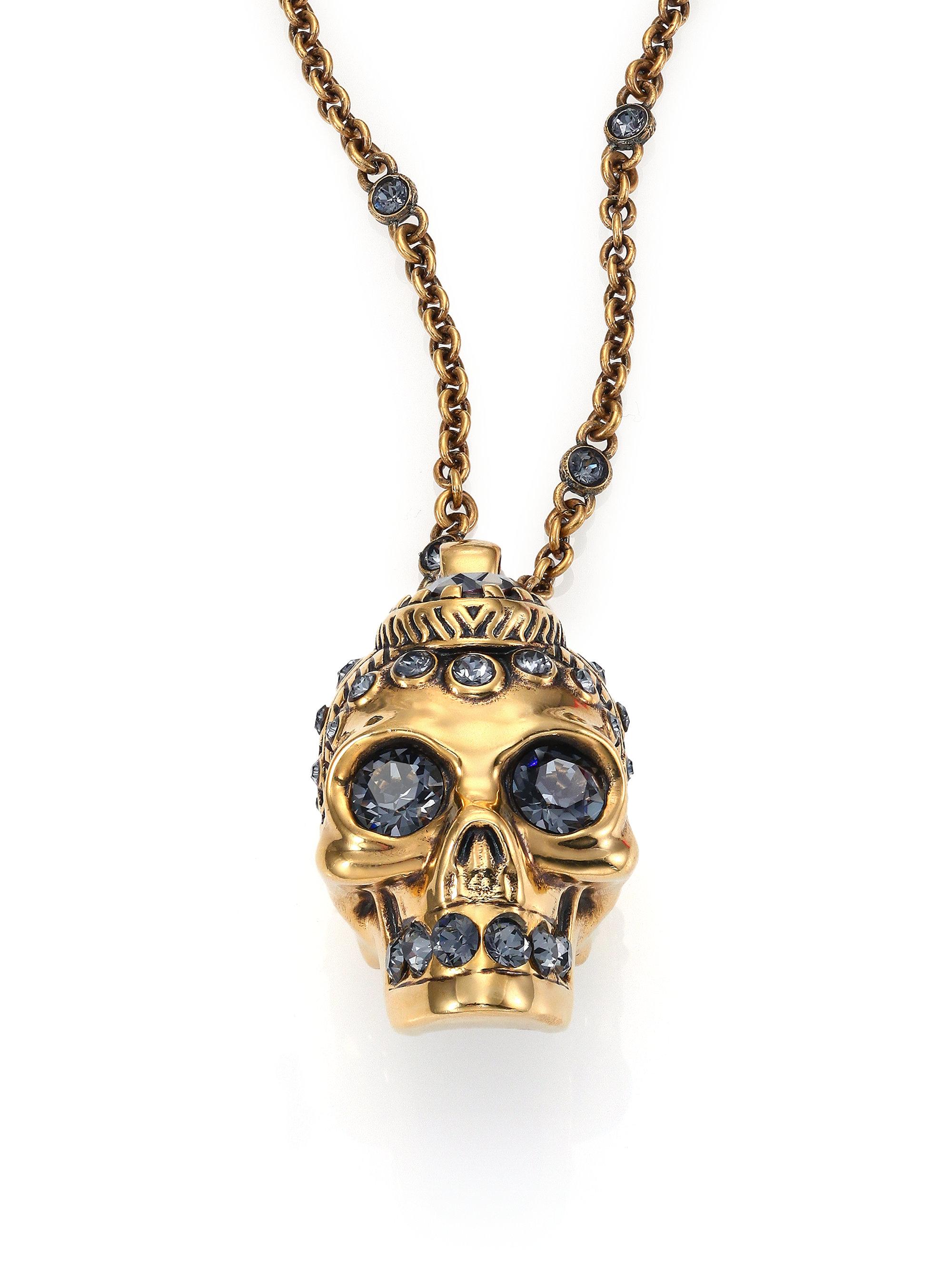 Alexander Mcqueen Victorian Skull Pendant Necklace In