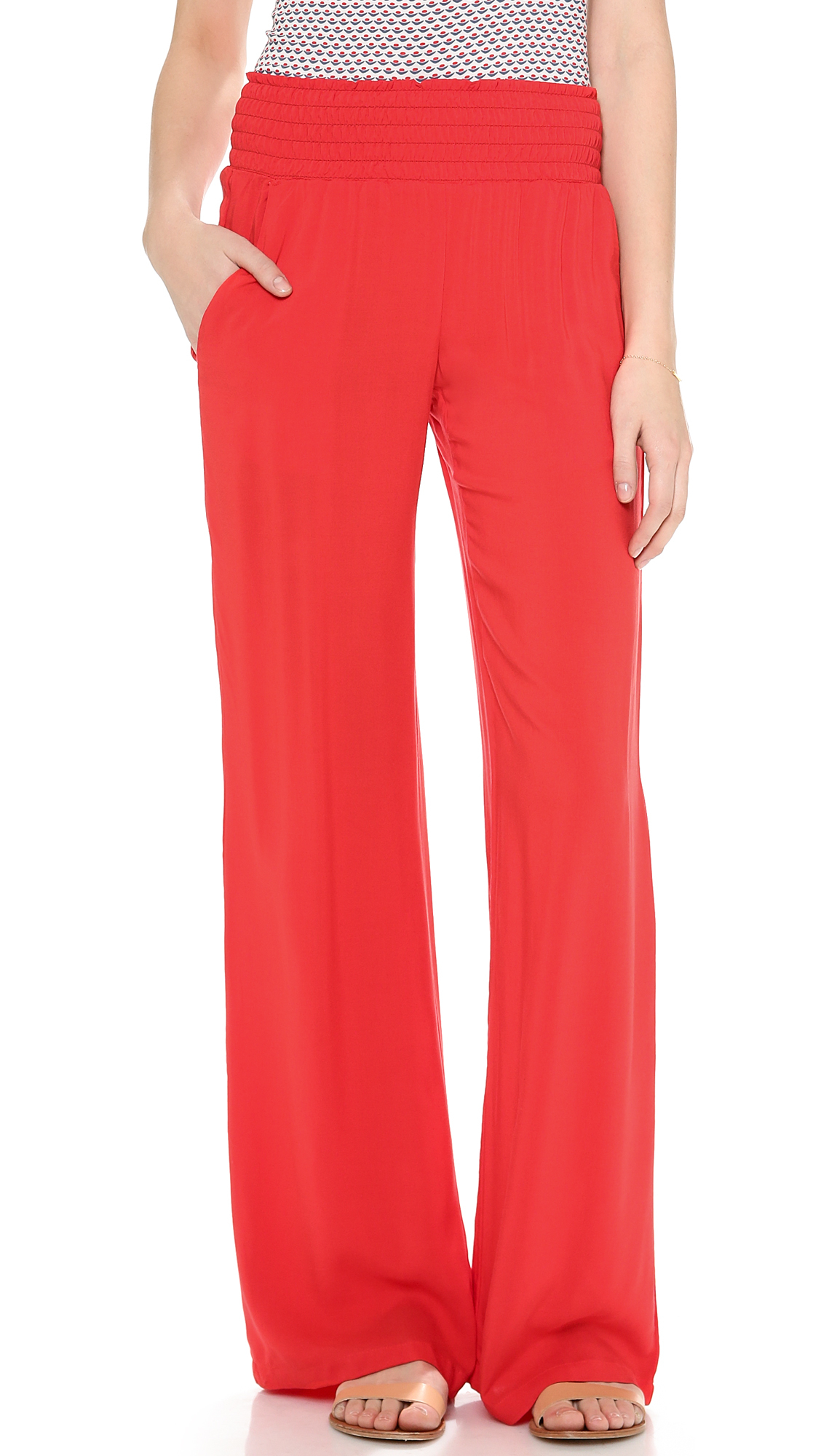 Splendid Woven Wide Leg Pants - Fiesta in Red | Lyst