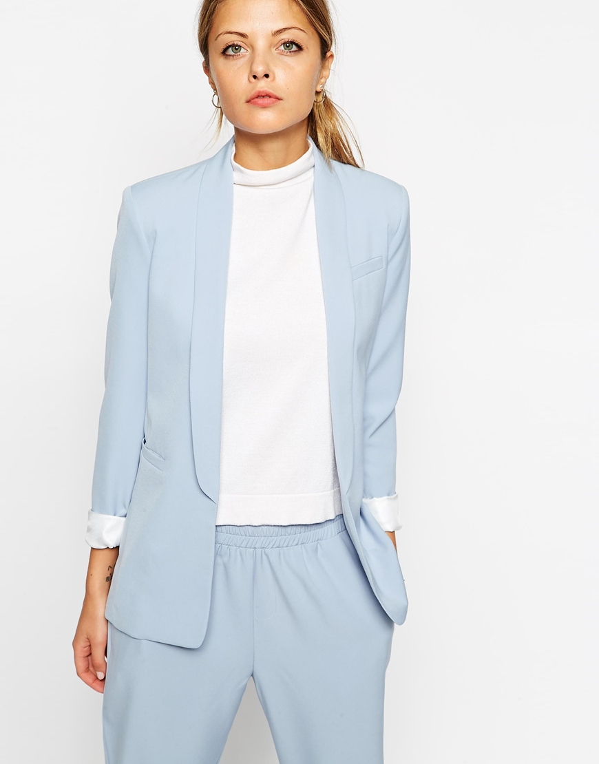 Asos Premium Suit Blazer With Collar Detail in Blue | Lyst