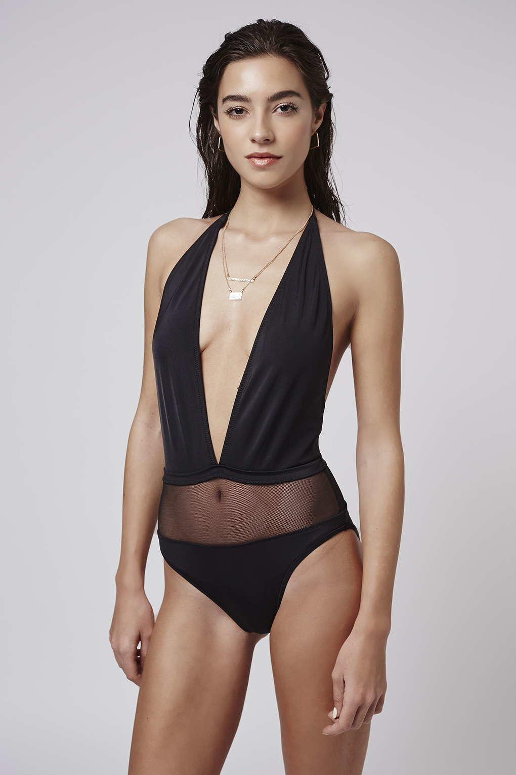 8c12689ed179c Lyst - TOPSHOP Mesh Plunge Swimsuit in Black