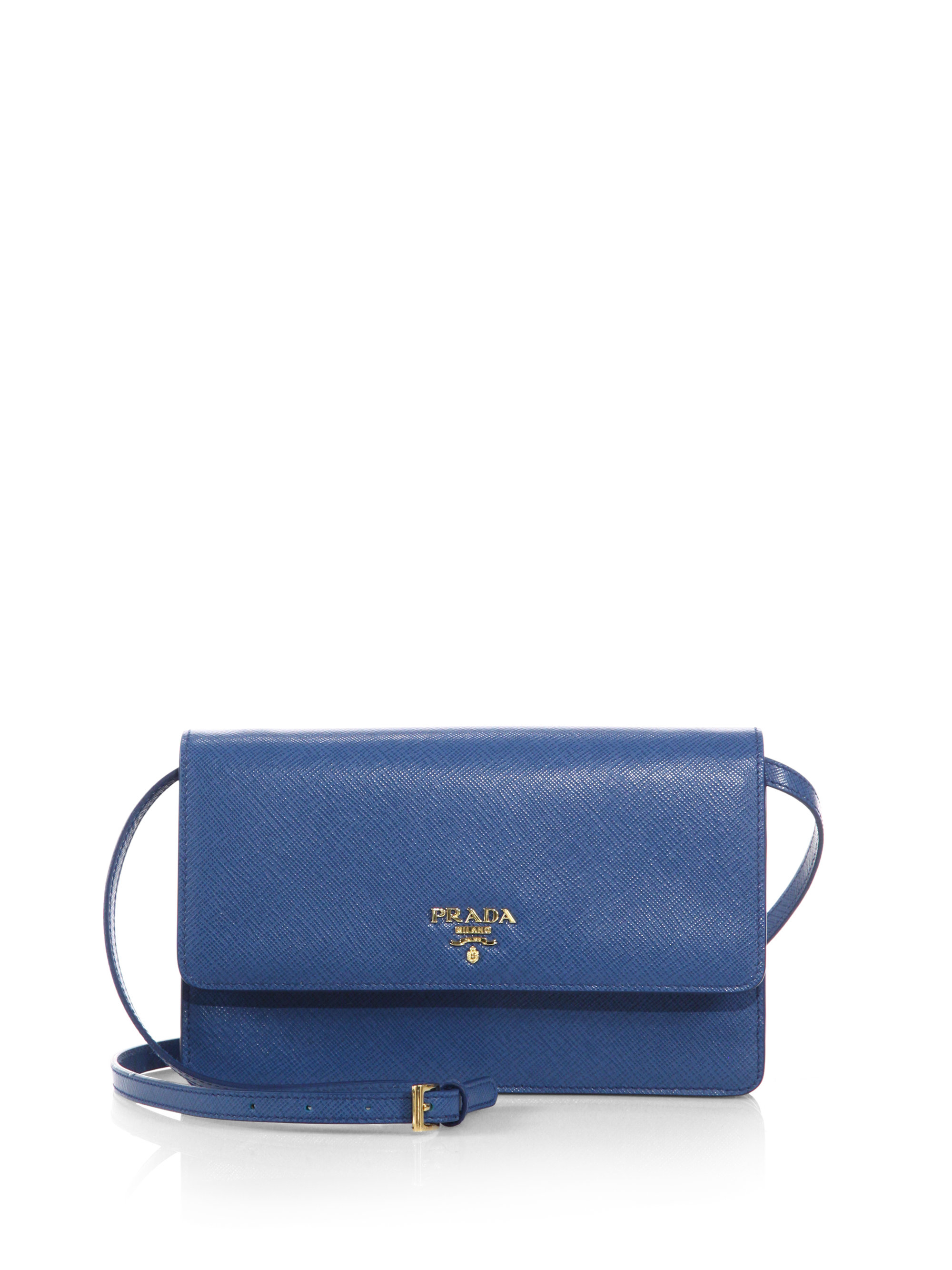 a139c6d9ec42 Prada Saffiano Lux Crossbody Bag in Blue - Lyst