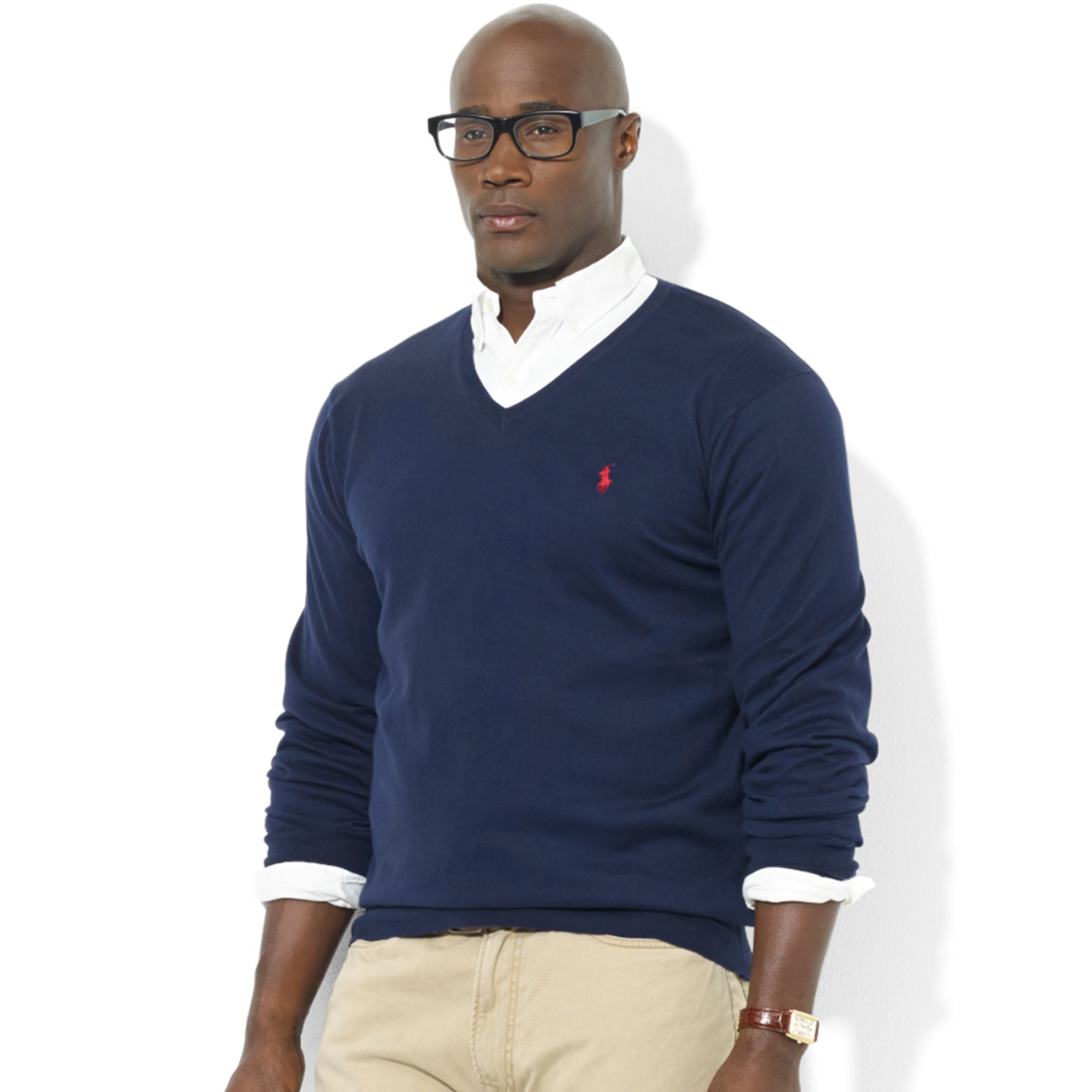 Ralph lauren Vneck Pima Cotton Sweater in Blue for Men | Lyst