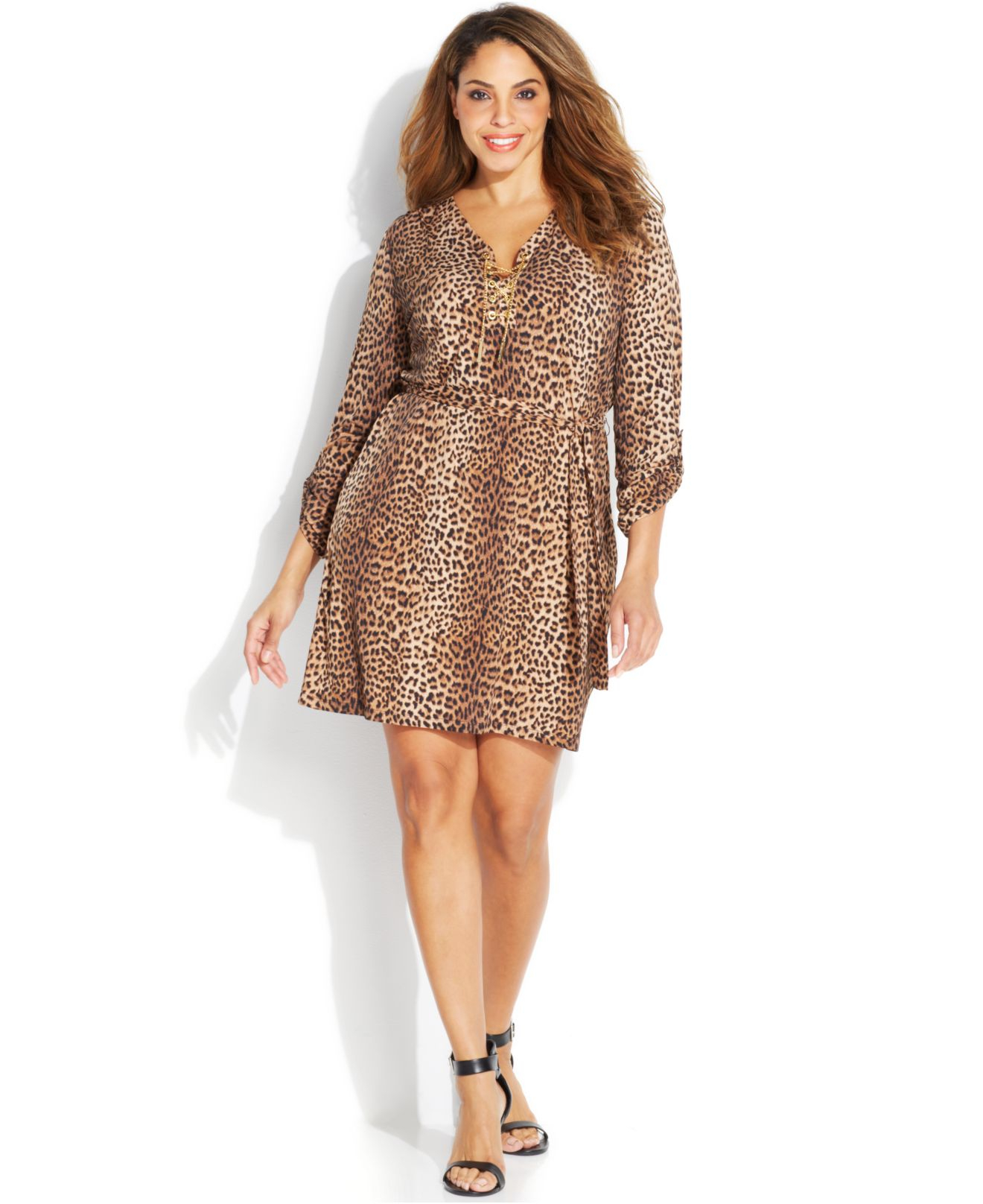 Michael kors Michael Plus Size Animal-Print Chain Lace-Up Dress | Lyst