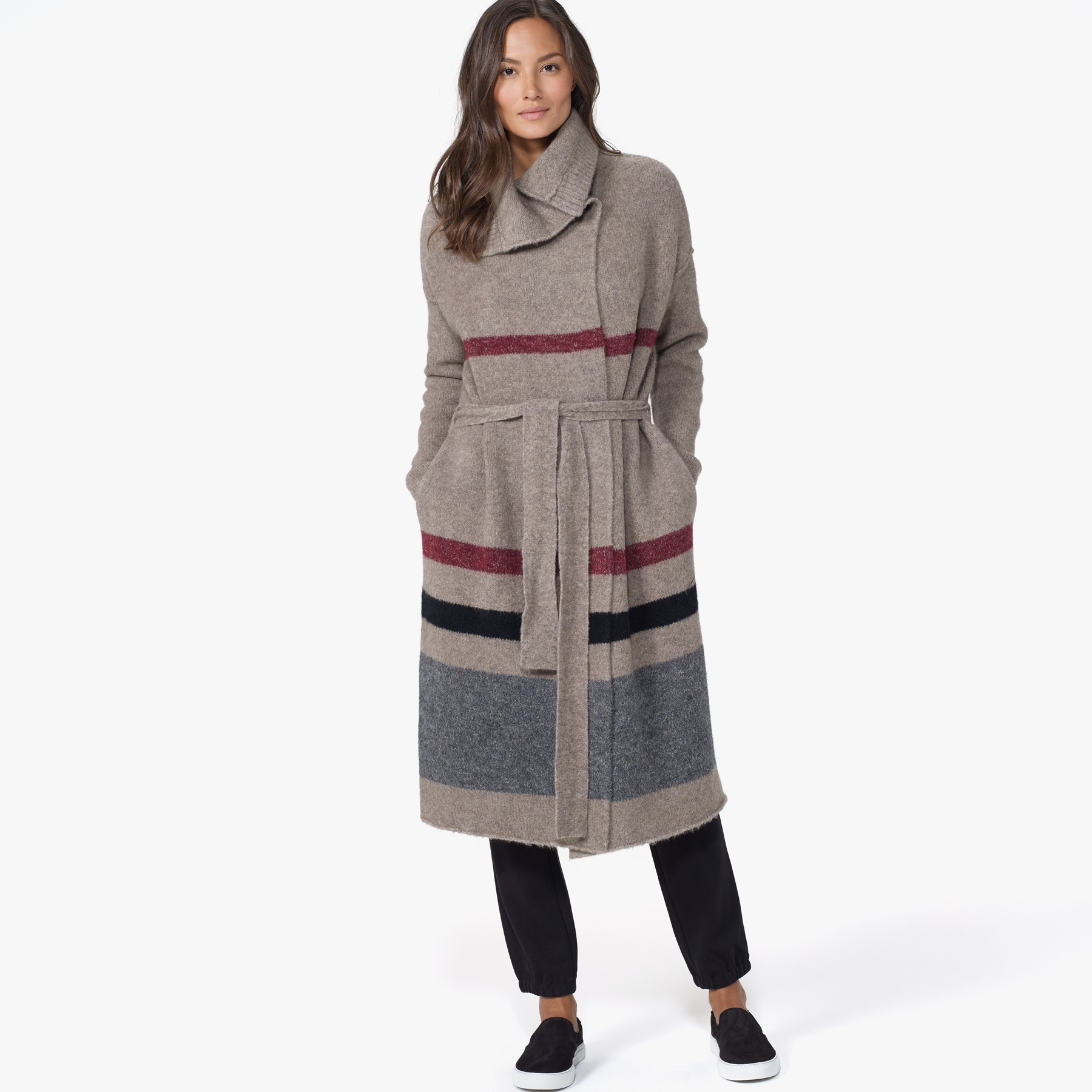 James perse Belted Striped Sweater Coat in Gray | Lyst