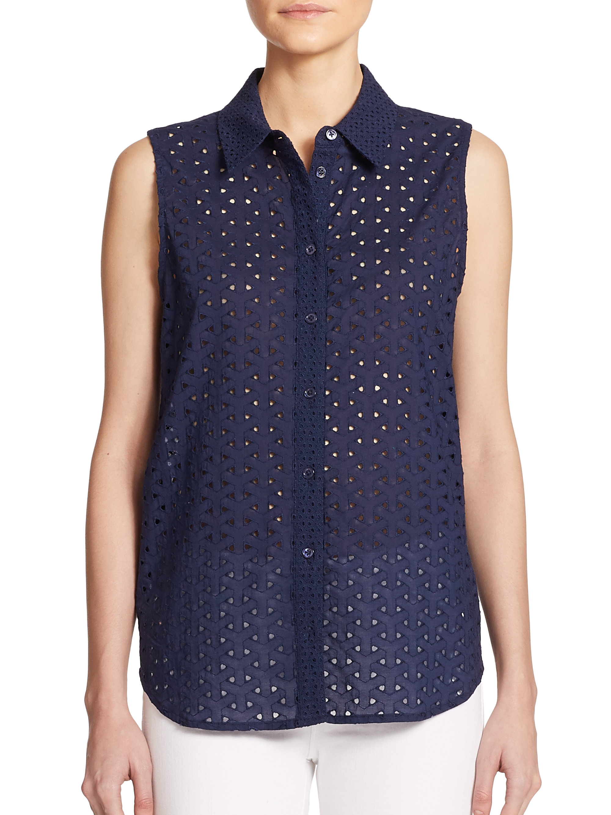 Navy Blue Polka Dot Blouse
