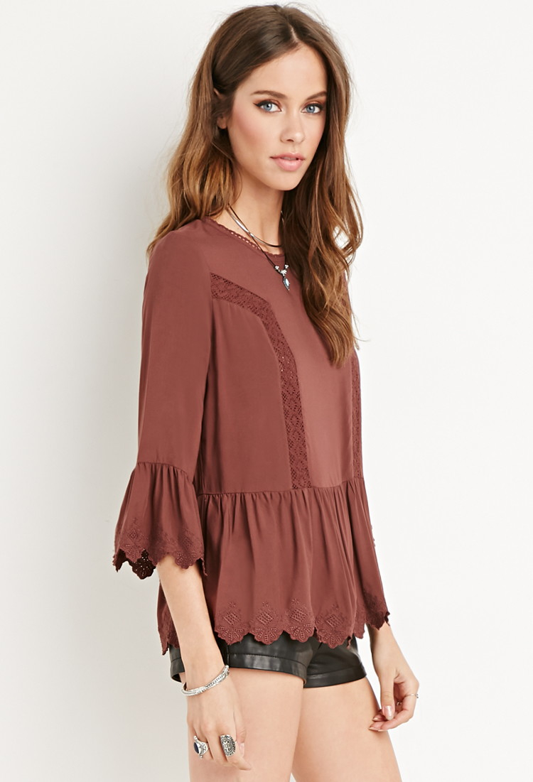 e5b9ec7e6c85a Lyst - Forever 21 Crochet-trimmed Peasant Top in Brown