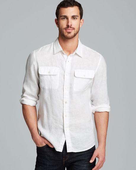 Michael Kors Linen Double Pocket Sport Shirt Slim Fit In