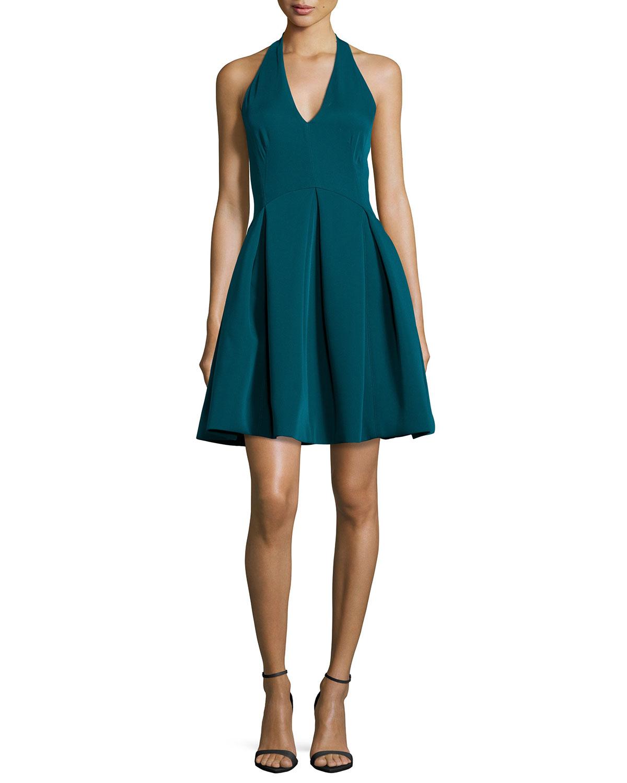 Halston Halter Full-skirt Cocktail Dress in Blue | Lyst
