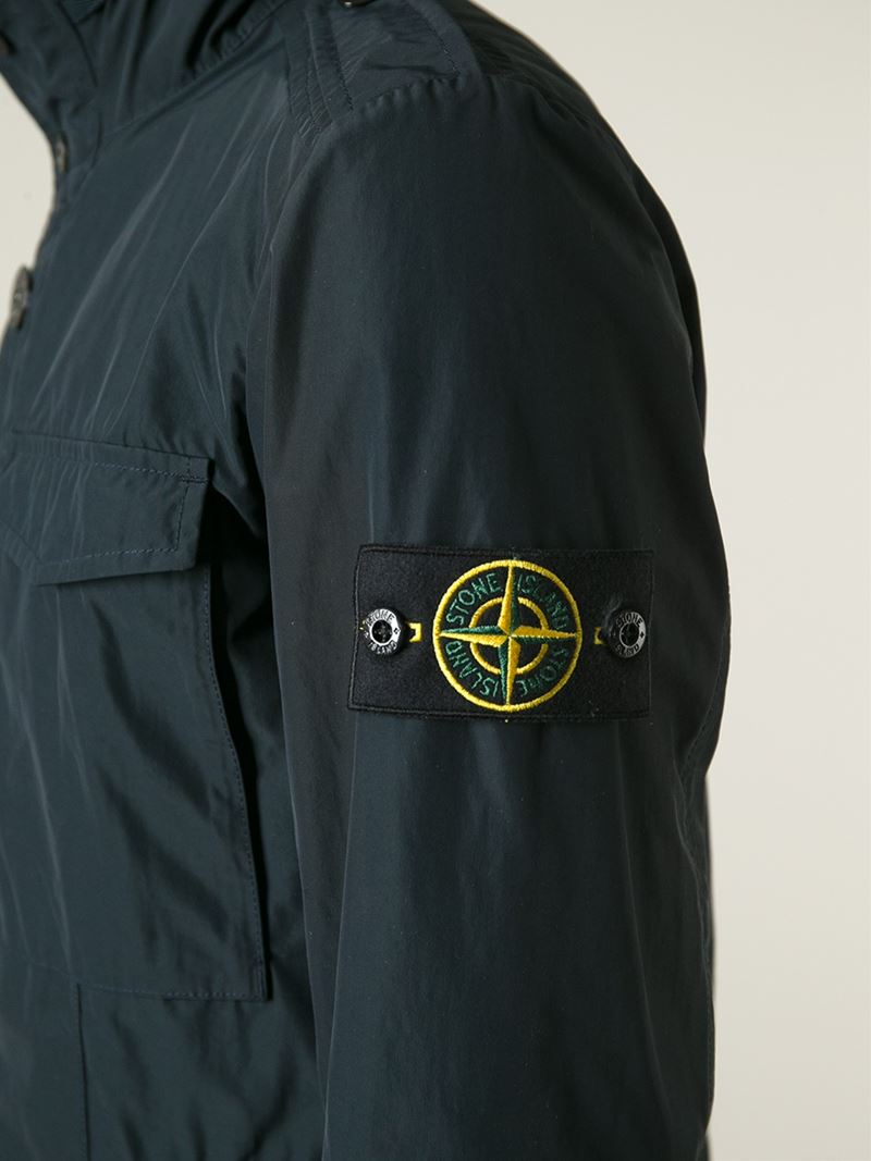 Stone Island Patch Pocket Jacket In Blue For Men