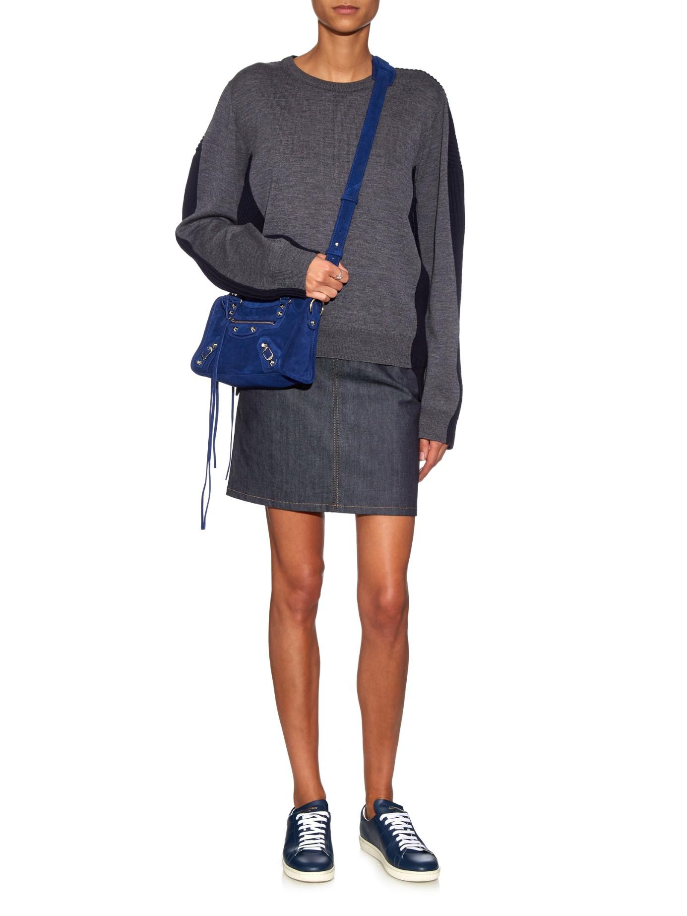 0a486b902b84 Lyst - Balenciaga Classic Mini City Suede Cross-body Bag in Blue