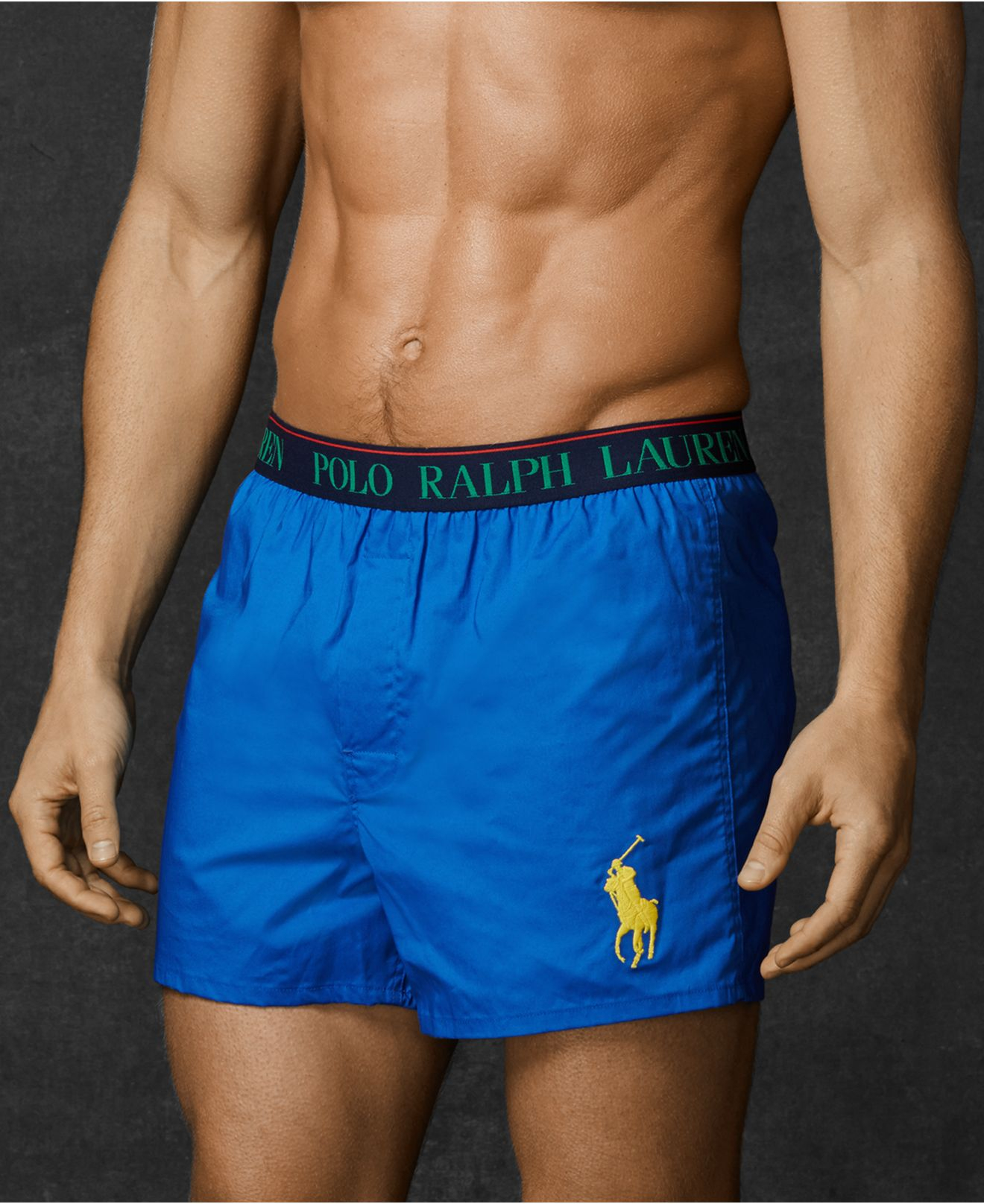polo ralph lauren men 39 s stretch woven boxers in blue for. Black Bedroom Furniture Sets. Home Design Ideas