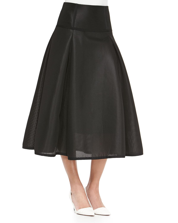 jonathan simkhai textured pleated midi skirt in black