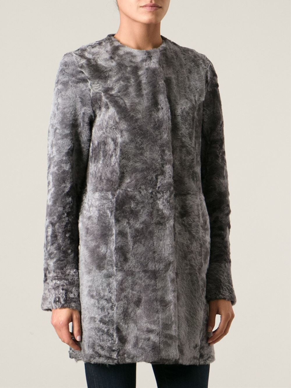 Drome Shaved Mottled Shearling Coat in Gray | Lyst