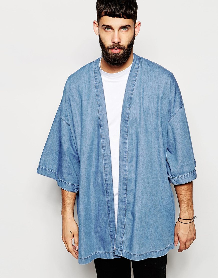 Asos Denim Kimono Jacket in Blue for Men | Lyst