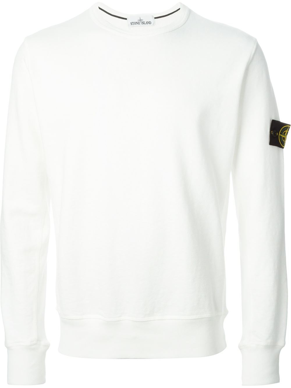 Lyst Stone Island Crew Neck Sweatshirt In White For Men