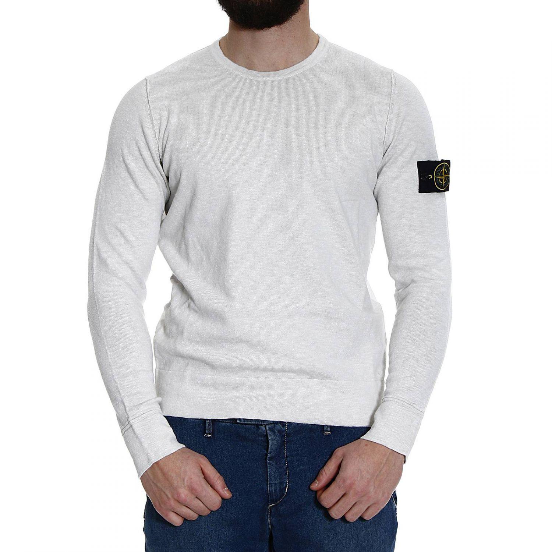 lyst stone island sweater knit crew neck cotton slubbed in white for men. Black Bedroom Furniture Sets. Home Design Ideas