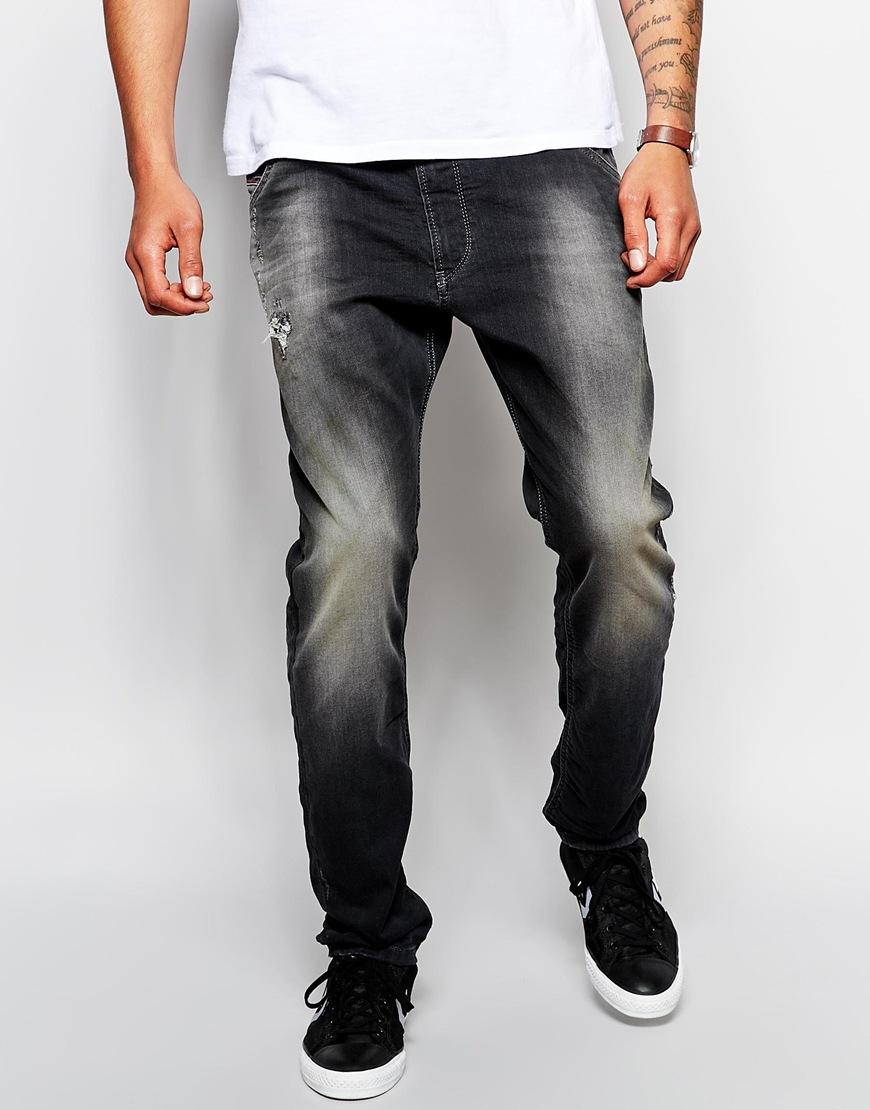 diesel jogg jeans krooley 835b slim tapered washed black. Black Bedroom Furniture Sets. Home Design Ideas