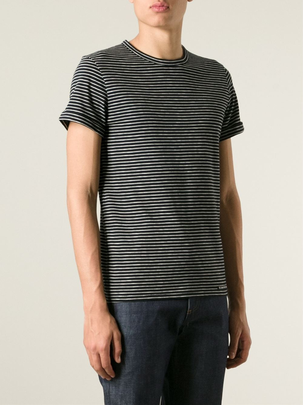 Lyst a p c striped t shirt in black for men for Apc white t shirt