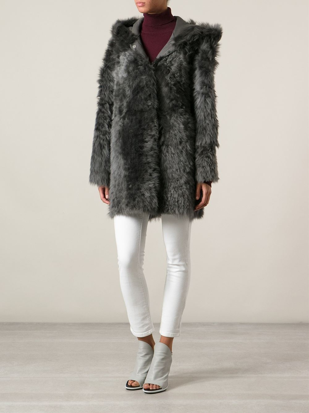 Drome Reversible Shearling Coat in Gray | Lyst