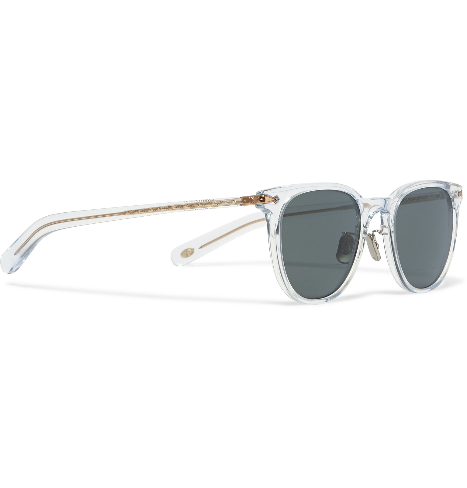 Eyevan 7285 Square-frame Acetate And Gold-tone Sunglasses in White ...
