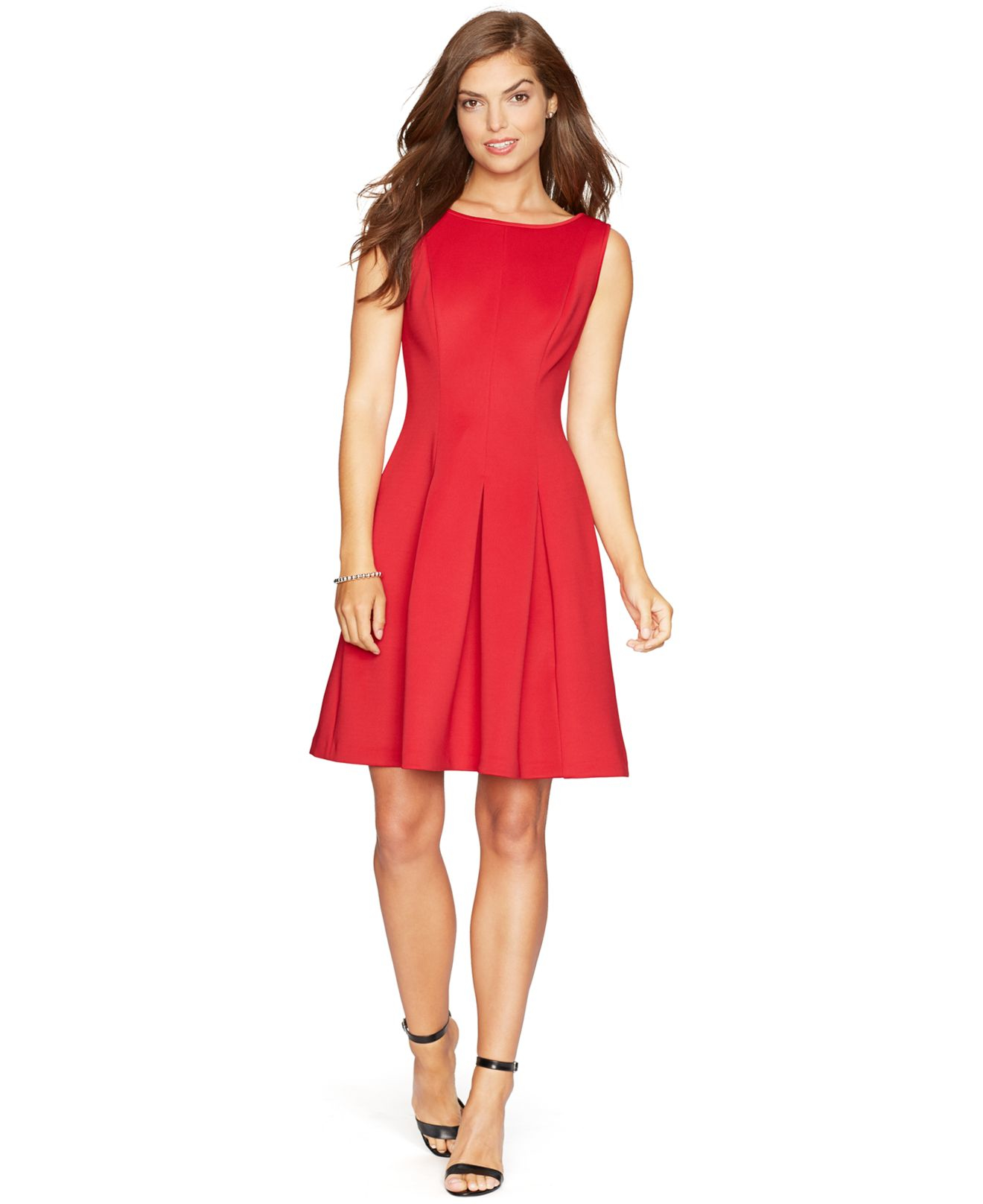 American Living Sleeveless Pleated Dress In Red Lyst
