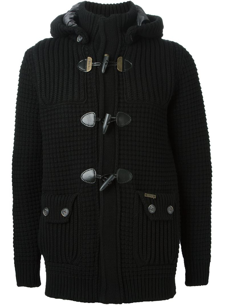 Bark Knitted Duffle Coat in Black for Men | Lyst