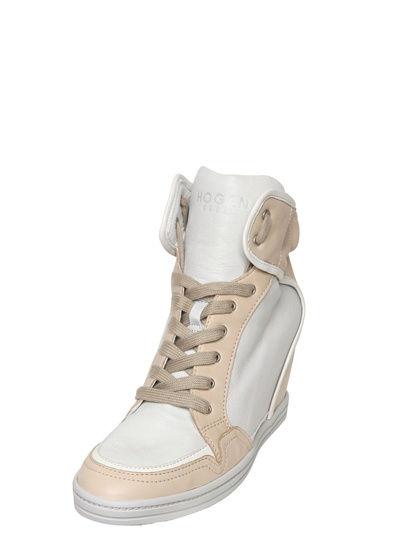 9ea2df2b81cf Lyst - Hogan Rebel 90mm Two Tone Calfskin Wedge Sneakers in Natural