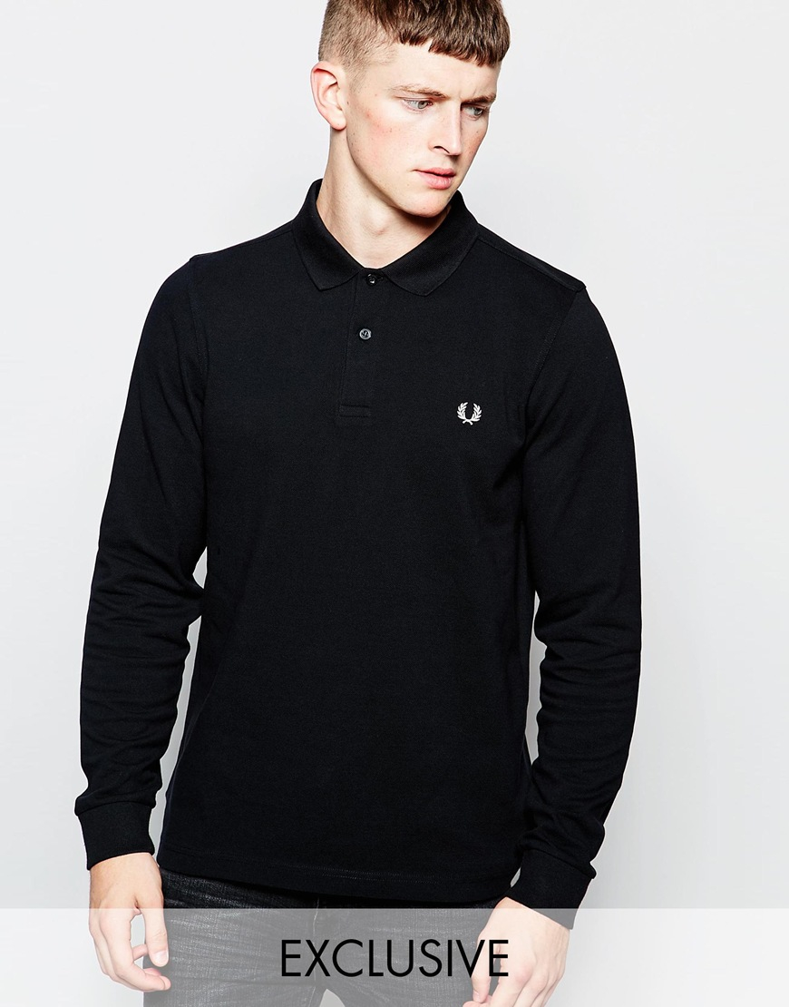 552db715 Fred Perry Long Sleeve Polo Shirt In Slim Fit Exclusive in Black for ...