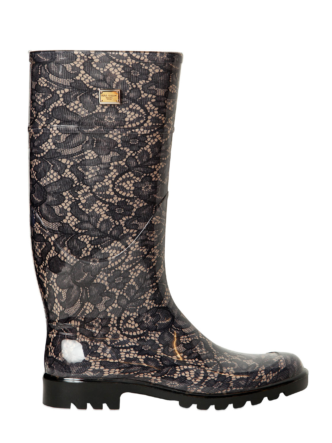 Dolce Amp Gabbana Lace Printed Rubber Rain Boots In Gray Lyst