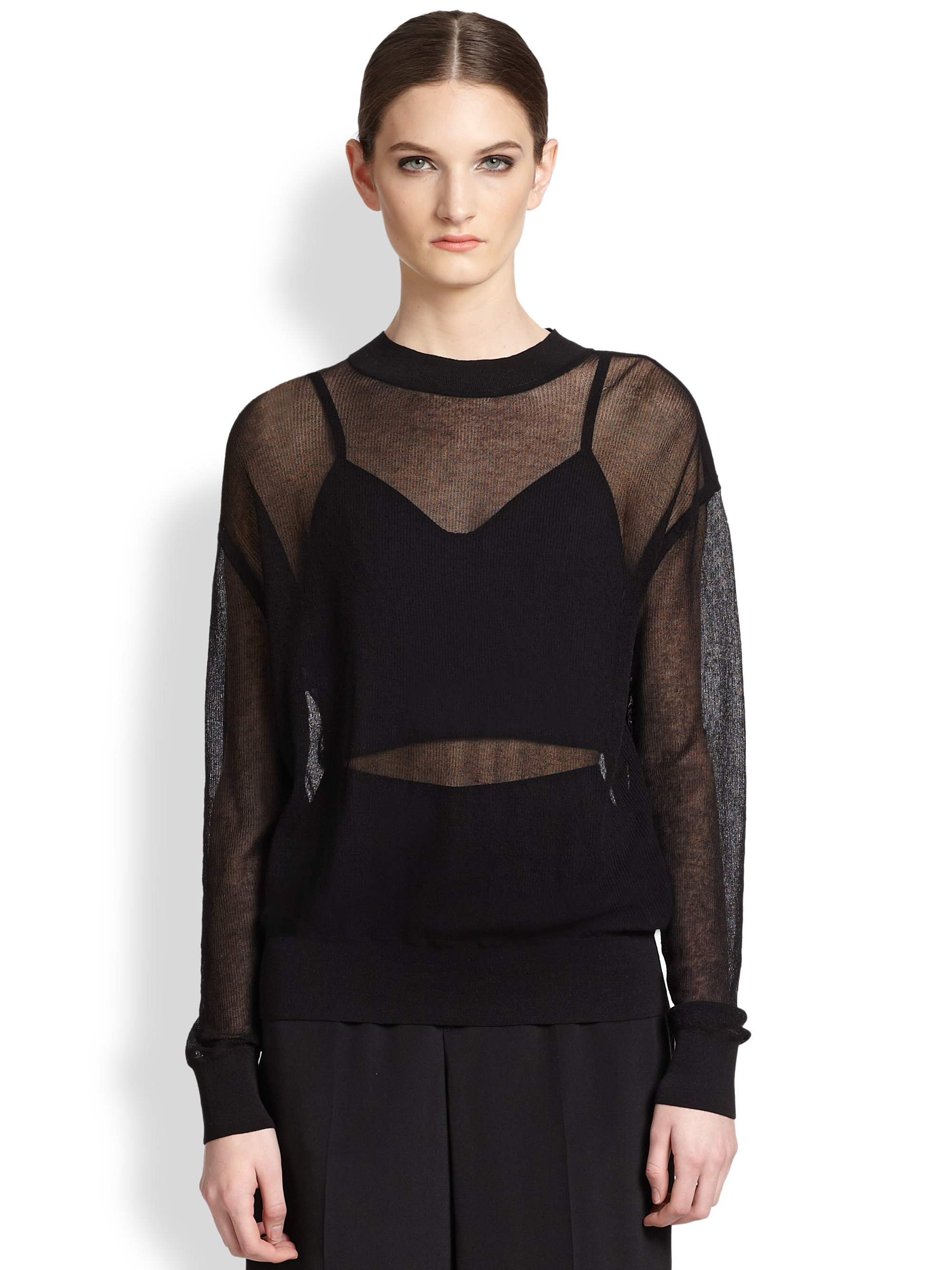 Theyskens' theory Kerzi Sheer Sweater in Black | Lyst
