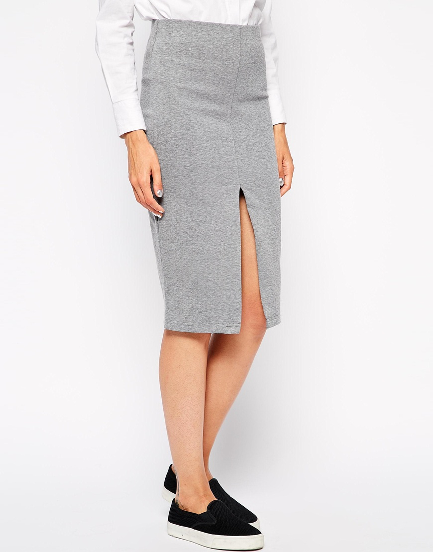 selected nilja pencil skirt with front split in gray lyst
