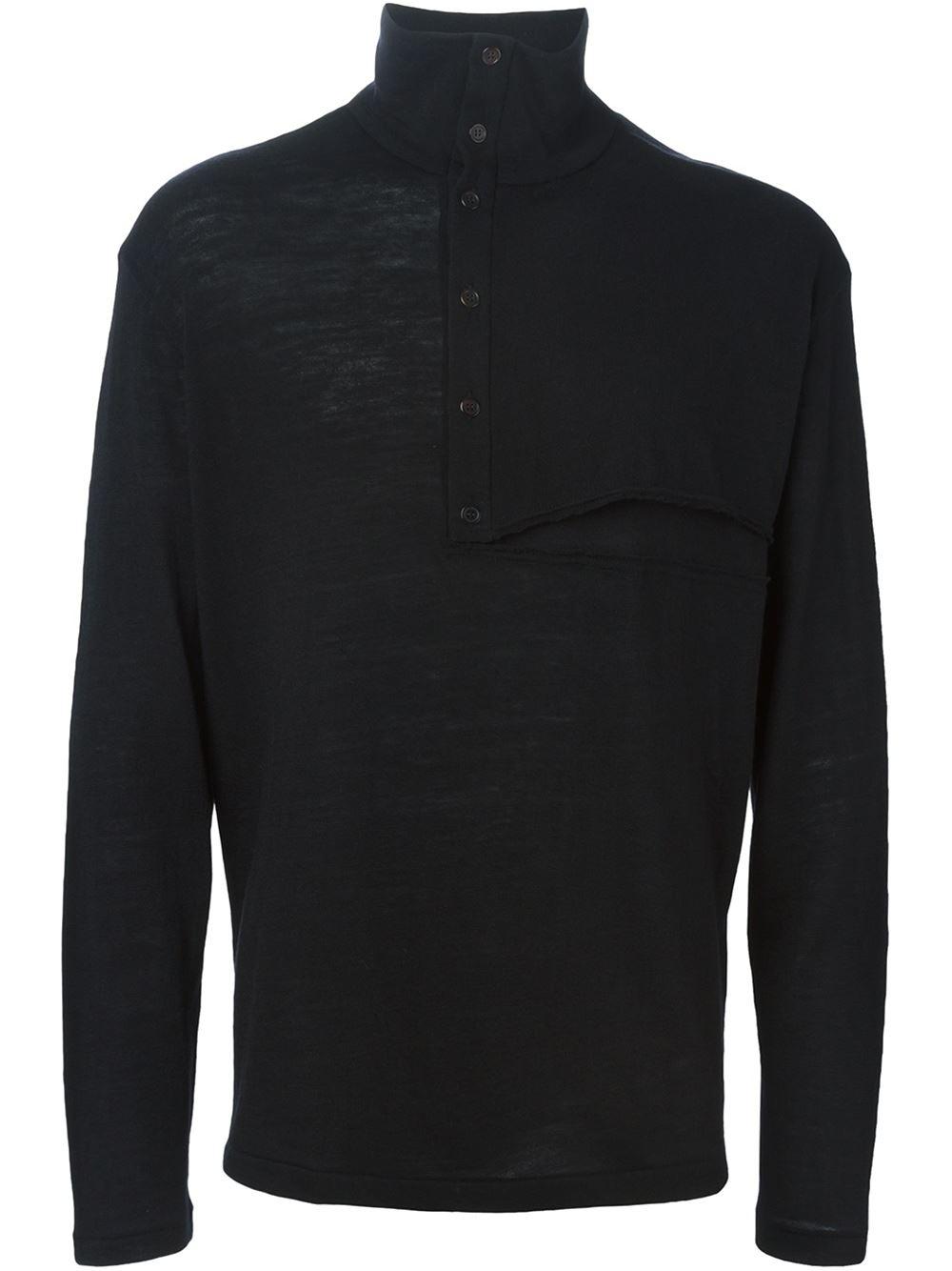 Yohji yamamoto long sleeved wool polo shirt in black for for Long sleeve wool polo shirts