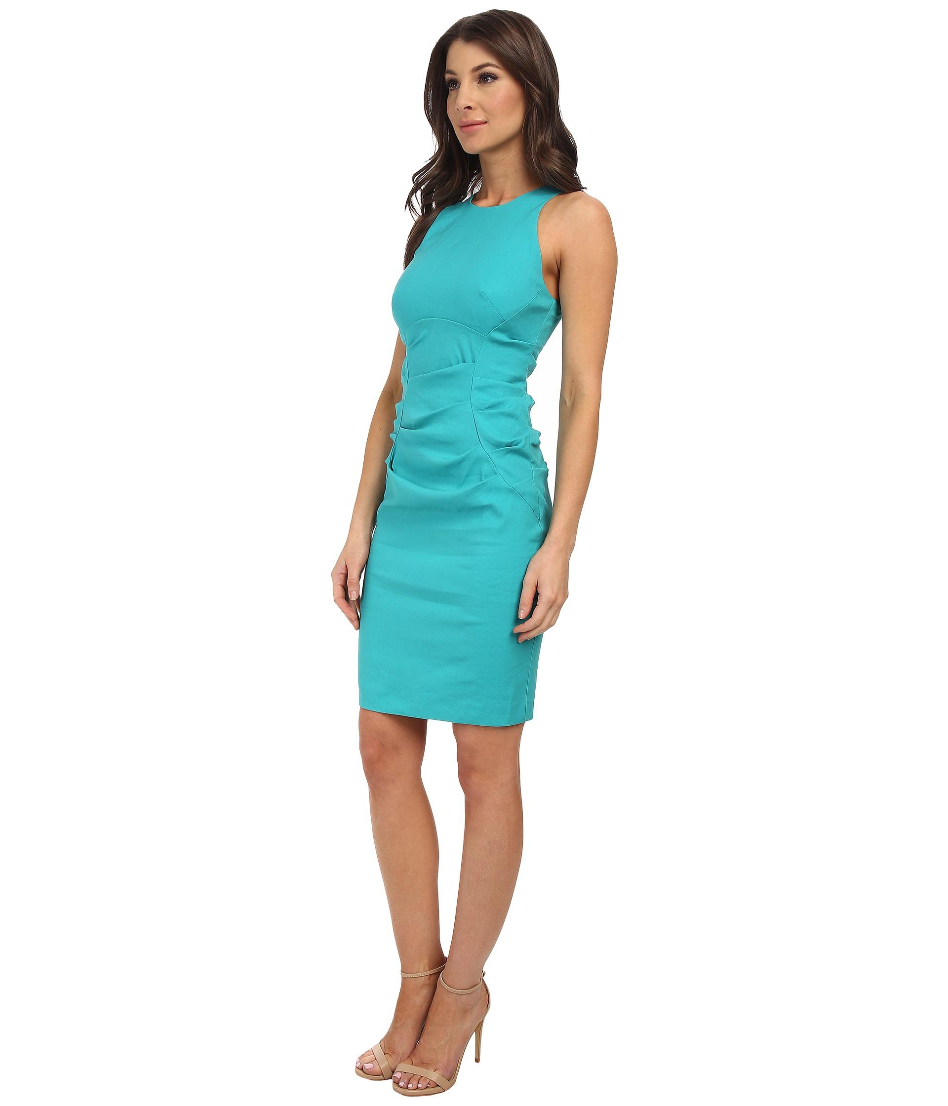 Lyst - Nicole Miller High Neck Stretch Linen Dress in Blue