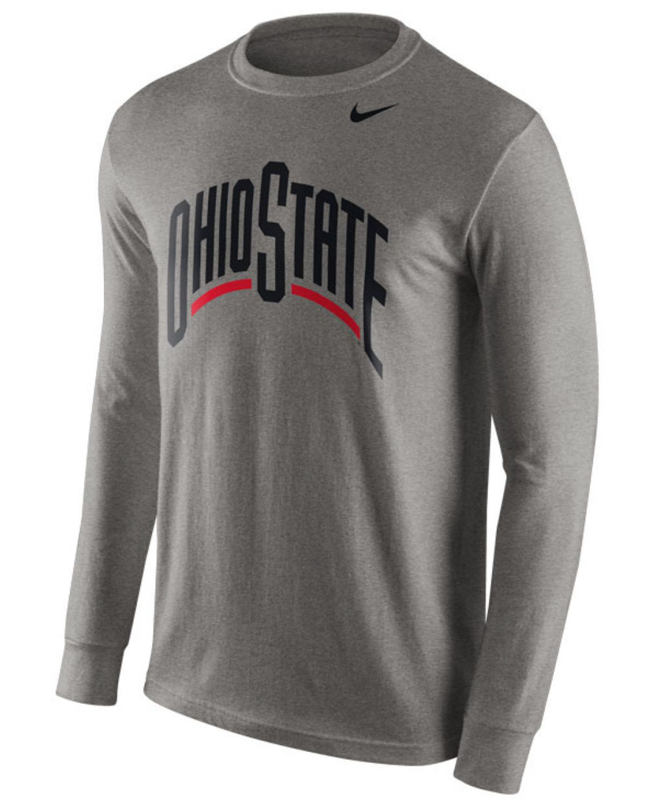 Nike men 39 s long sleeve ohio state buckeyes wordmark t for Ohio state shirts mens