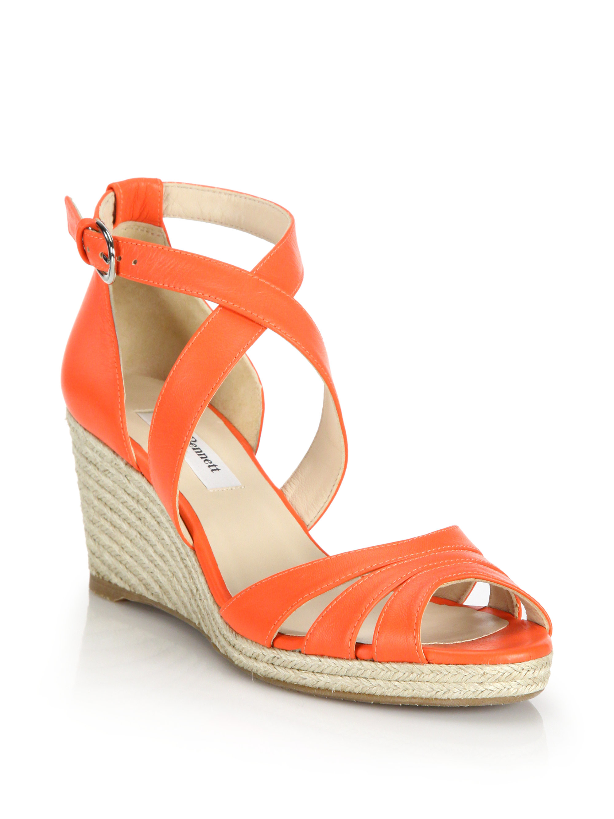 L K Bennett Priya Leather Espadrille Wedge Sandals In